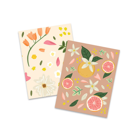 Grapefruit Floral Pocket Notebooks - Bloomwolf Studio Mini Notebooks, Neutral and Warm Colors, Grapefruit, Petals, Green Leaves