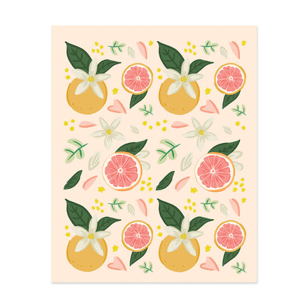 Grapefruit Pattern Art Print - Bloomwolf Studio Print, Warm Colors, Grapefruits, Pink and White Petals, Green Leaves