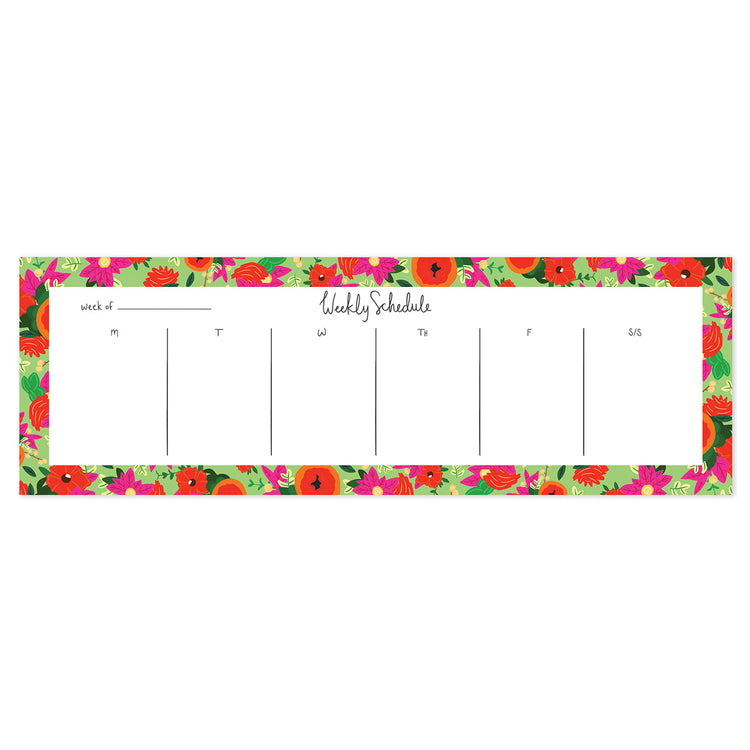 Green Bloomwolf Weekly Planner - Bloomwolf Studio  Weekly Schedule Tear Off Sheets, Red and Pink Flowers Design