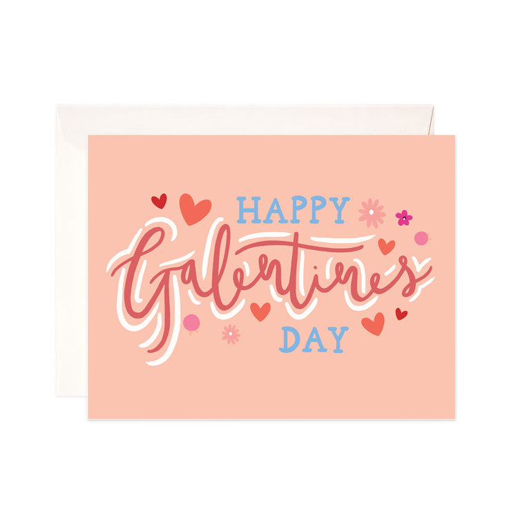 Happy Galentine's Day - Bloomwolf Studio Card for Galentines Day, Red, Blue, Orange, Pink Colors With Flowers, Hearts