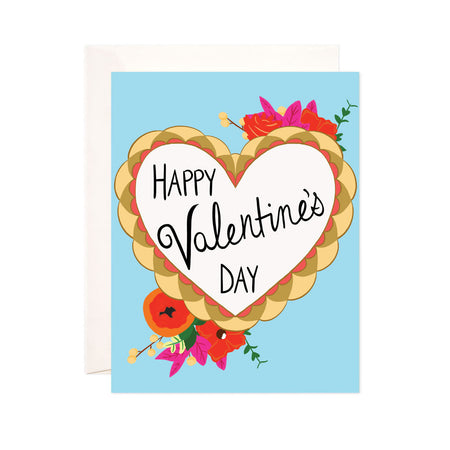 Happy Valentine's Day - Bloomwolf Studio Valentines Card, Hearts, Red, Pink and Orange Flowers
