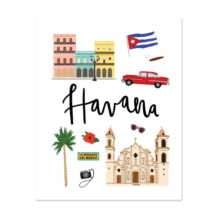 City Art Prints - Havana - Bloomwolf Studio Print About Things to Do in Havana, Bright and Neutral Colors, City Landmarks + Historical Places + Notable Places