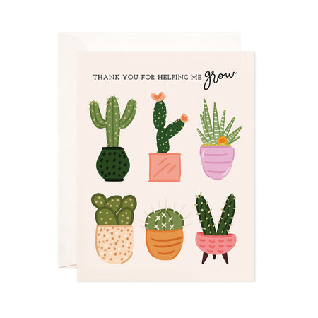 Helping Me Grow - Bloomwolf Studio Card That Says Thank You for Helping Me Grow, Pastel Colored Pots, Green Cactus
