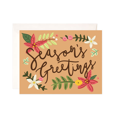 Holly Greetings - Bloomwolf Studio Card That Says Season's Greetings, Red, Pink, White, Yellow Flowers, Green Leaves