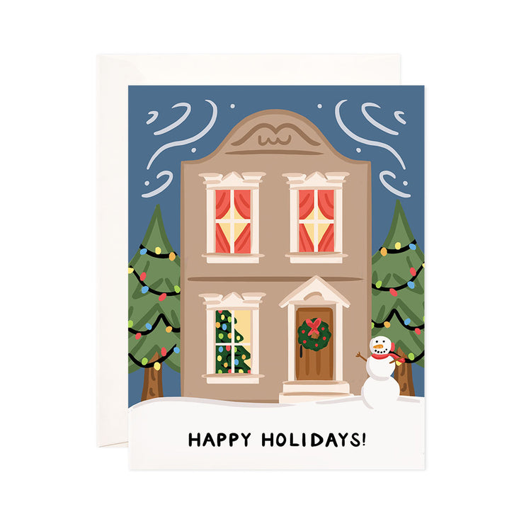 Home for the Holidays - Bloomwolf Studio Christmas + Holiday Card, Bright Colors, Green Trees and Wreath, Red Curtains, Snowman