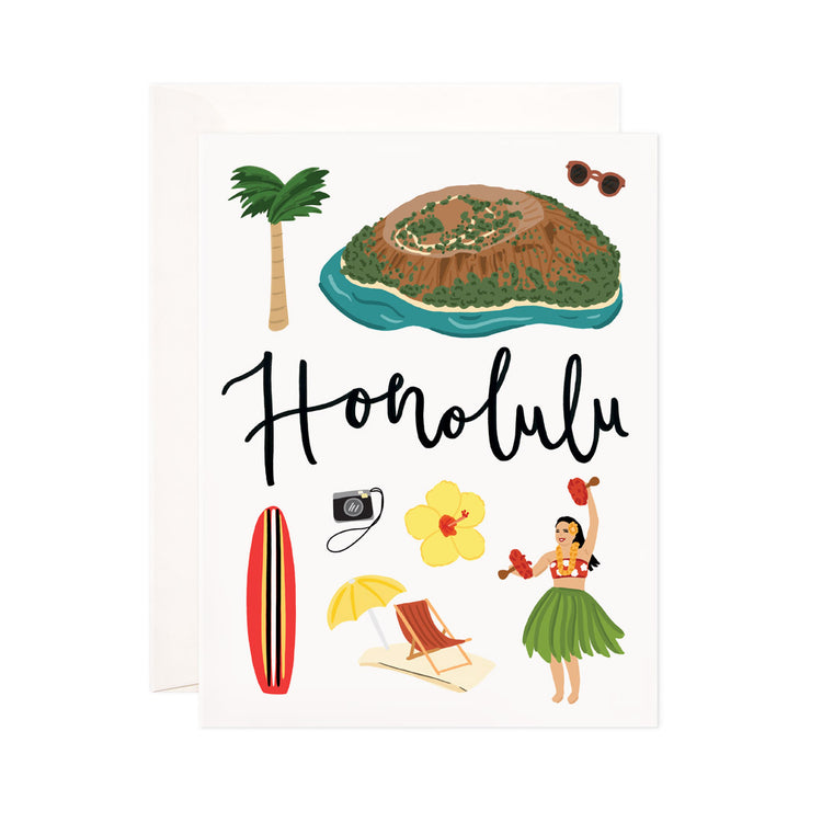 Honolulu - Bloomwolf Studio Card About Things to Do in Honolulu, Bright Colors, State Landmarks + Historical Places + Notable Places