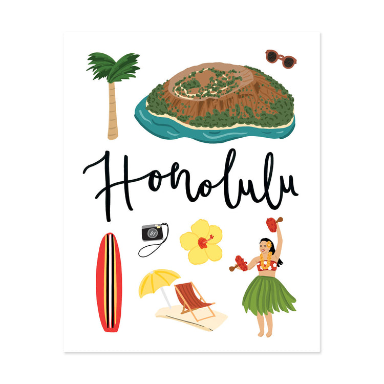 City Art Prints - Honolulu - Bloomwolf Studio Print on Things  to Do in Honolulu, Bright Colors, State Landmarks + Historical Places + Notable Places