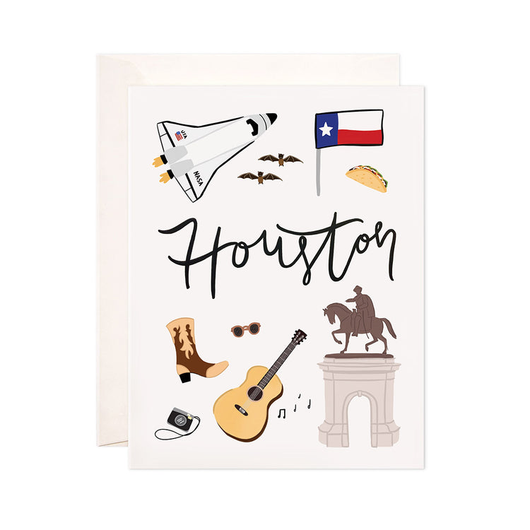 Houston - Bloomwolf Studio Card About Things to Do in Houston, Neutral Colors, City Landmarks + Historical Places + Notable Places, Texas