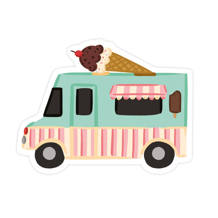 Ice Cream Truck Sticker - Bloomwolf Studio Sticker,  Mint Green, Pink, Beige Truck With a Chocolate Vanilla Ice Cream on Top