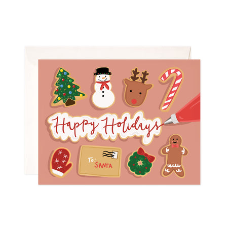 Iced Holiday Cookies - Bloomwolf Studio Happy Holidays Card, Christmas + Holiday Symbols With Green, Red, White and Brown Colors