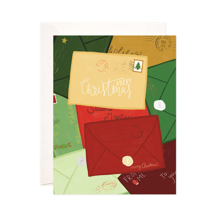 Christmas + Holiday Mail - Bloomwolf Studio Christmas + Holiday Card, Yellow, Red and Green Mail Envelopes, Postal Cards