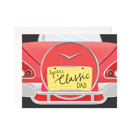 Classic Dad - Bloomwolf Studio Card That Says You're a Classic Dad, Red Vintage Car With Yellow Plate