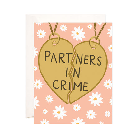 Partners in Crime - Bloomwolf Studio Card in Peach Background Color, White Flowers, Heart Pendant, Partners in Crime