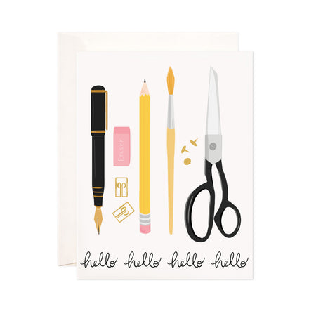 Stationery Hello - Bloomwolf Studio Hello Card, Yellow Pencils and Brush, Black Pens and Scissors, Pink Erasers