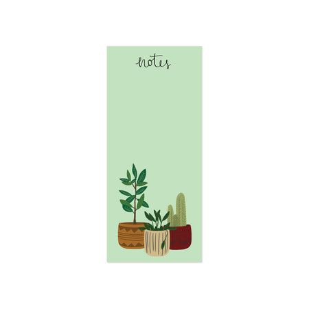 Potted Plants Notes Notepad - Bloomwolf Studio Tear Off Notepad, Green Plants, Brown, Red and Beige Pots