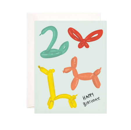 Birthday Balloon Animals - Bloomwolf Studio Birthday Card, Green, Red, Yellow and Orange  Balloon Animals