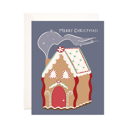Christmas + Holiday Gingerbread - Bloomwolf Studio Christmas + Holiday Card, Red, White, Green, Brown Gingerbread House