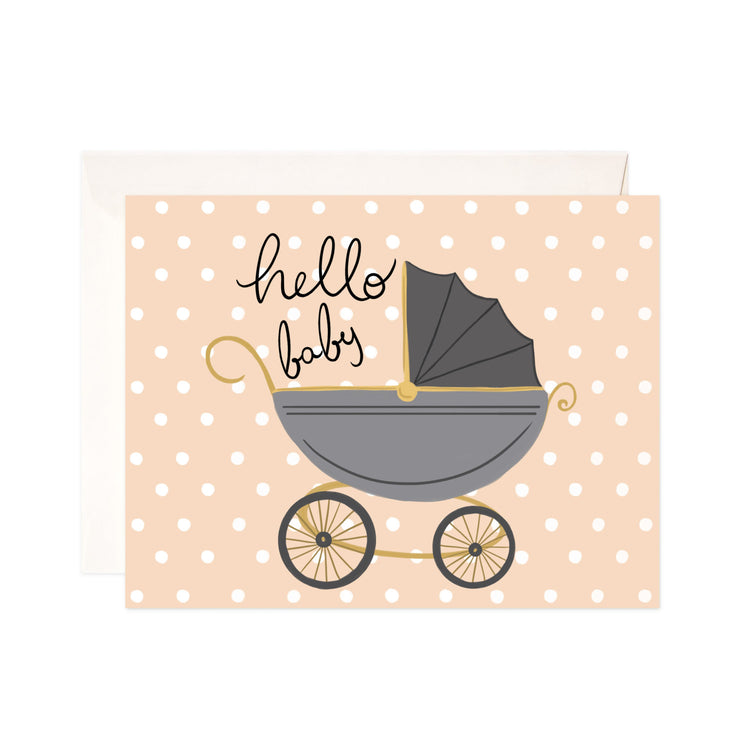 Hello Baby Carriage - Bloomwolf Studio Card That Says Hello Baby, Gray Baby Carriage, Beige With White Dots Background