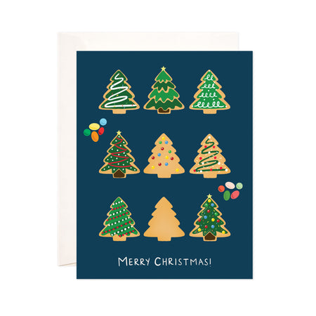 Christmas + Holiday Tree Cookies - Bloomwolf Studio Christmas + Holiday Card, Bright Colors, Green and Brown Gingerbread Christmas + Holiday Tree