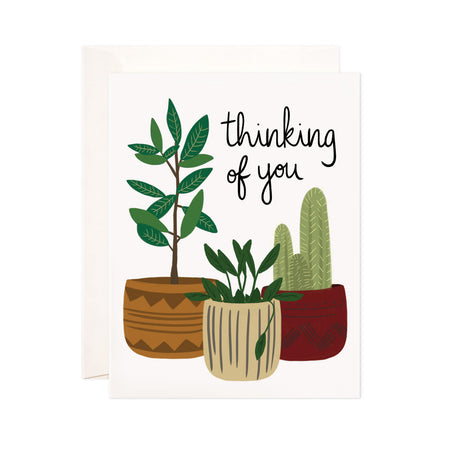 Potted Plants - Bloomwolf Studio Thinking of You Card, Green Plants, Brown, Beige and Red Pots