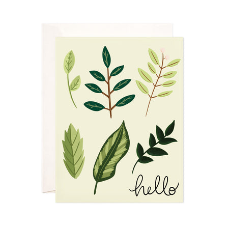 Hello Leaves - Bloomwolf Studio Print That Says Hello, 6 Green Leaves