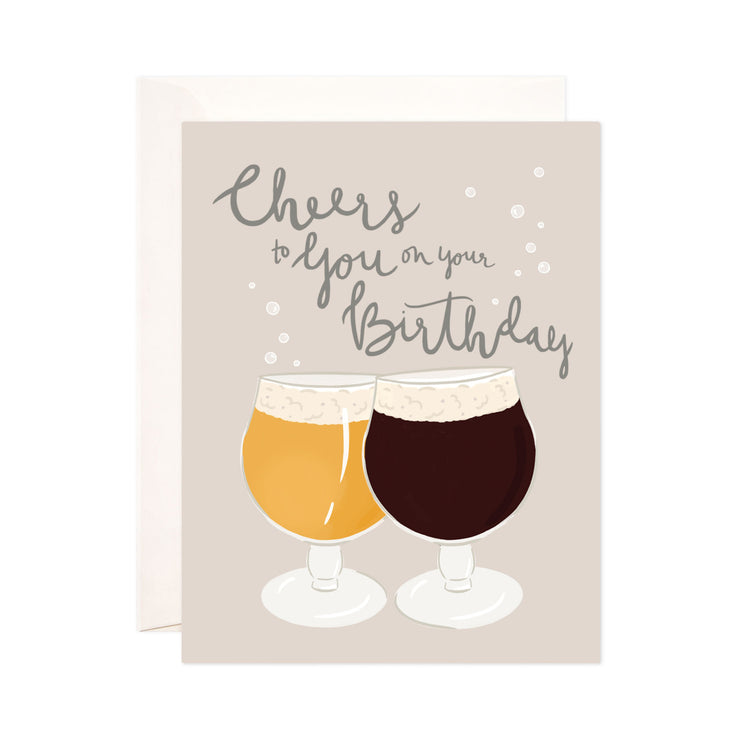 Cheers to You - Bloomwolf Studio Card That Says Cheers to You on Your Birthday,  Wine Glass, Yellow and Neutral Colors