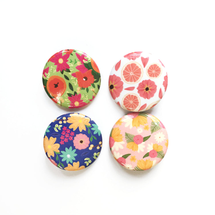 Floral Button Pack - Bloomwolf Studio Button Pins of 4, Bright and Pastel Colors, Floral Designs