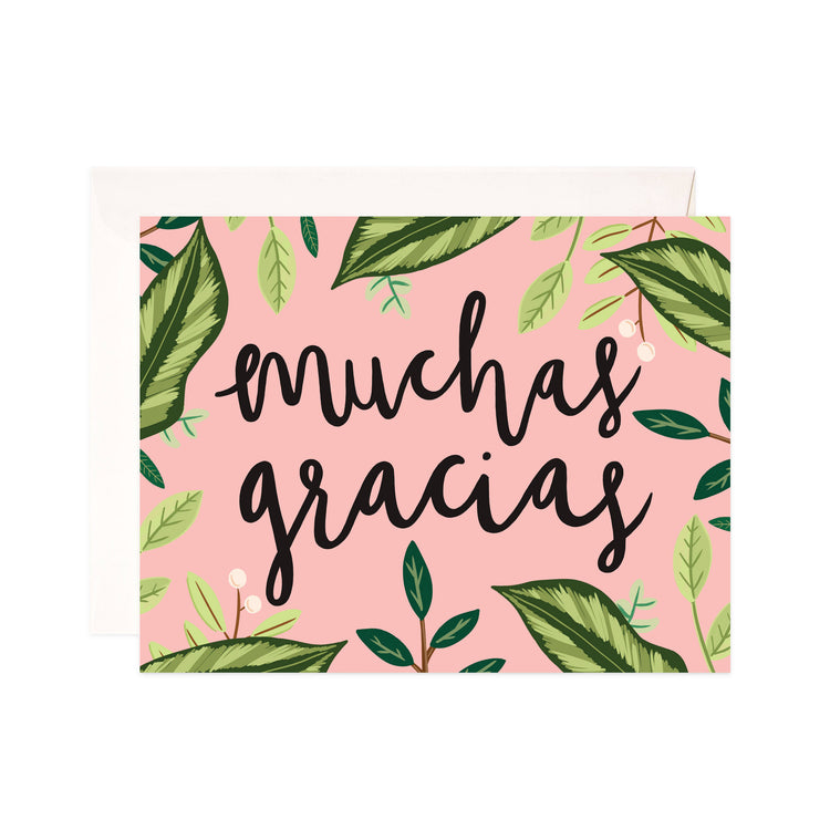 Muchas Gracias - Bloomwolf Studio Card That Says Muchas Gracias, Peach Color, Green Leaves Design