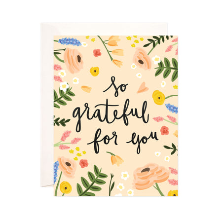 So Grateful - Bloomwolf Studio Card That Says So Grateful for You, Beige, Yellow, Pink and Purple Flowers, Green Leaves