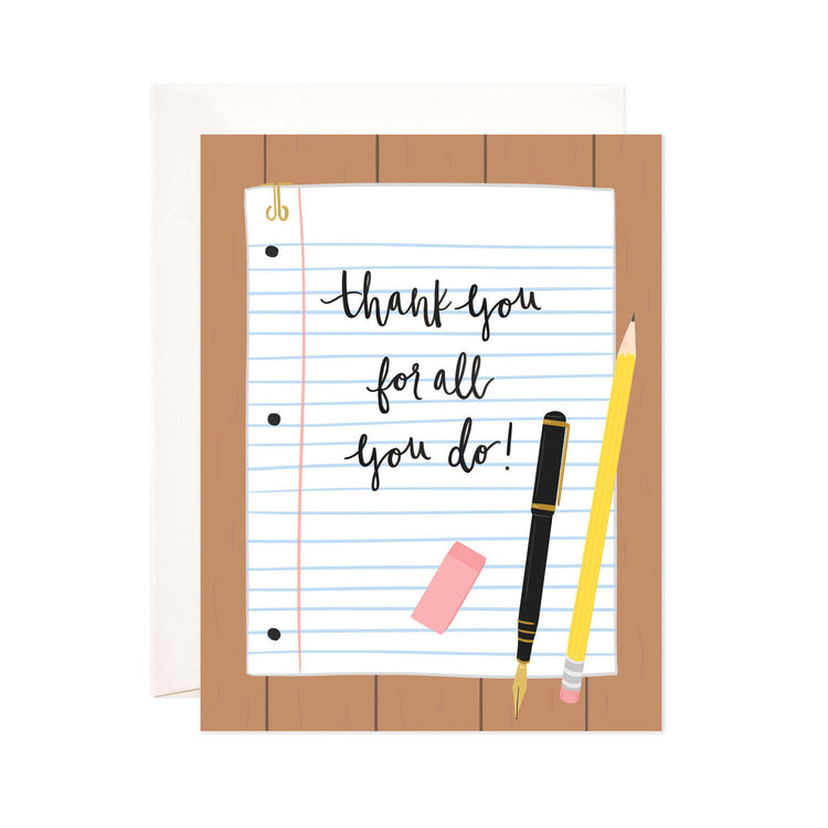 Thank You Note - Bloomwolf Studio Card, Pink Eraser, Black Pen, Yellow Pencil, White Notepad