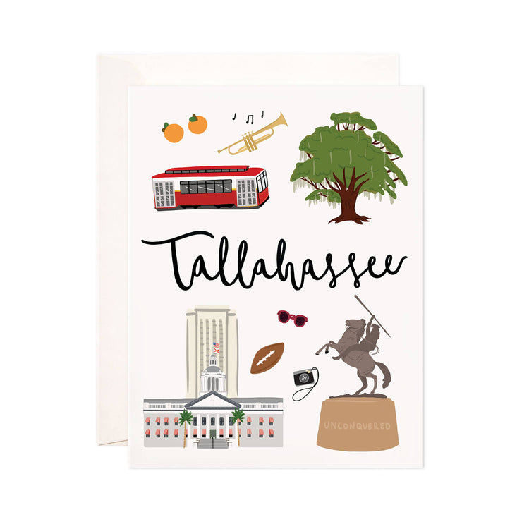 Tallahassee - Bloomwolf Studio Card About Tallahassee, Things to Do, Bright Colors, State Landmarks + Historical Places + Notable Places, Florida