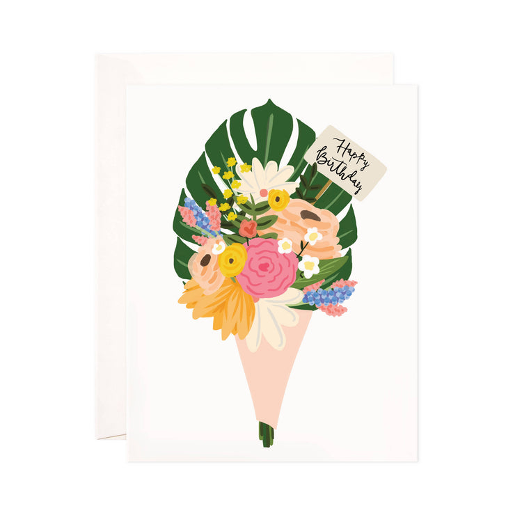 Birthday Bouquet - Bloomwolf Studio Birthday Card, Bouquet of Yellow, Pink, Beige, White and Blue Flowers, Monstera Leaf