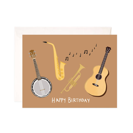 Musical Birthday - Bloomwolf Studio Card That Says Happy Birthday, Neutral Colors, Musical Instruments