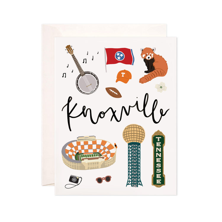 Knoxville - Bloomwolf Studio Card About What to Do in Knoxville, Neutral, Bright Colors, City Landmarks + Historical Places + Notable Places