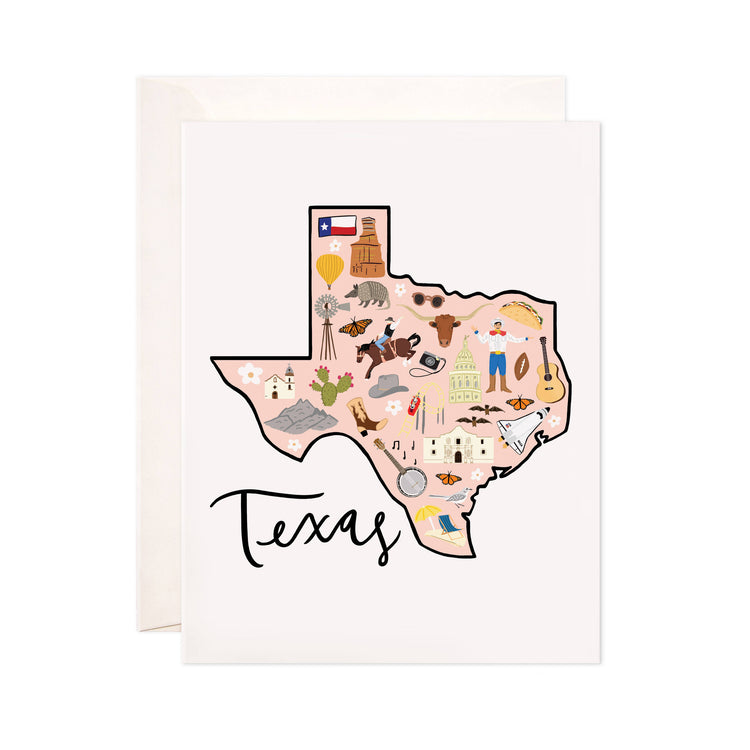 Texas - Bloomwolf Studio Card About Texas, Peach Background, Bright Colors, City Landmarks + Historical Places + Notable Places, Things to Do