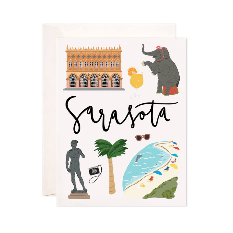 Sarasota - Bloomwolf Studio Card About Sarasota, Bright Colors, Things to Do, State Landmarks + Historical Places + Notable Places
