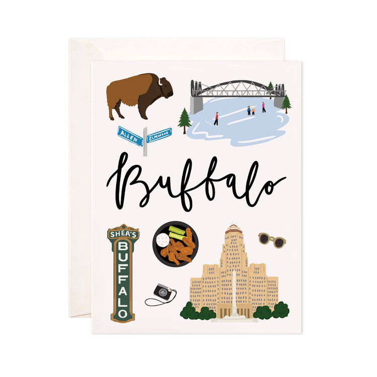Buffalo - Bloomwolf Studio Card About Things to Do in Buffalo, Bright Colors, State Landmarks + Historical Places + Notable Places