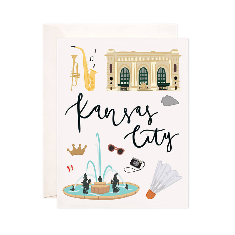 Kansas City - Bloomwolf Studio Card About What to Do in Kansas City, Neutral Colors, Light Blue, City Landmarks + Historical Places + Notable Places