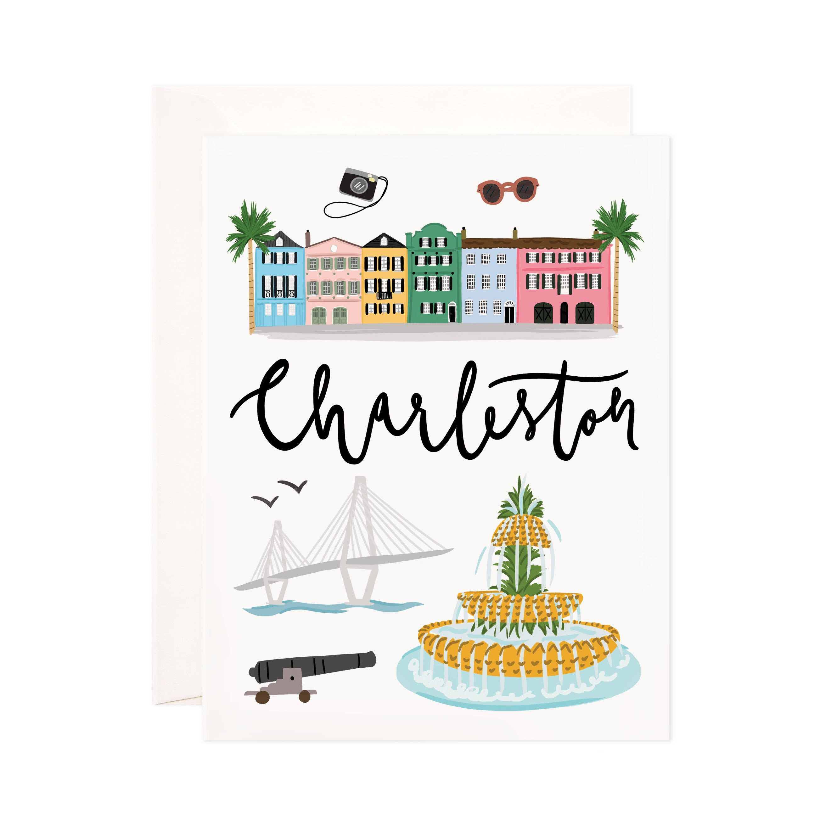 Charleston - Bloomwolf Studio Card About Things to Do in Charleston, Bright Colors, State Landmarks + Historical Places + Notable Places