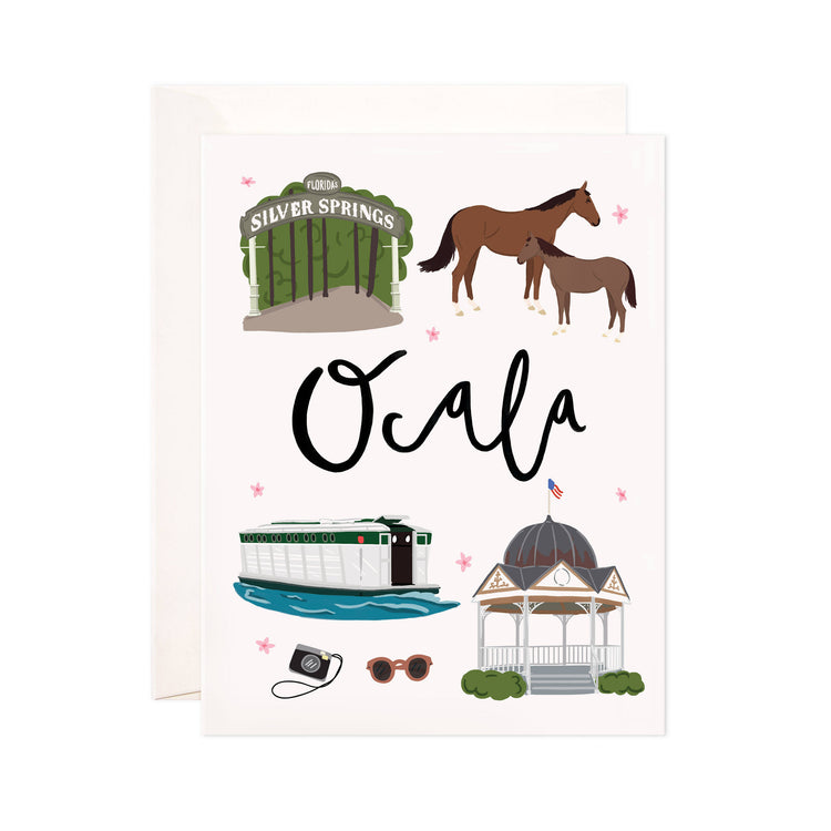 Ocala - Bloomwolf Studio Card About Things to Do in Ocala, City Landmarks + Historical Places + Notable Places, Green and Neutral Colors