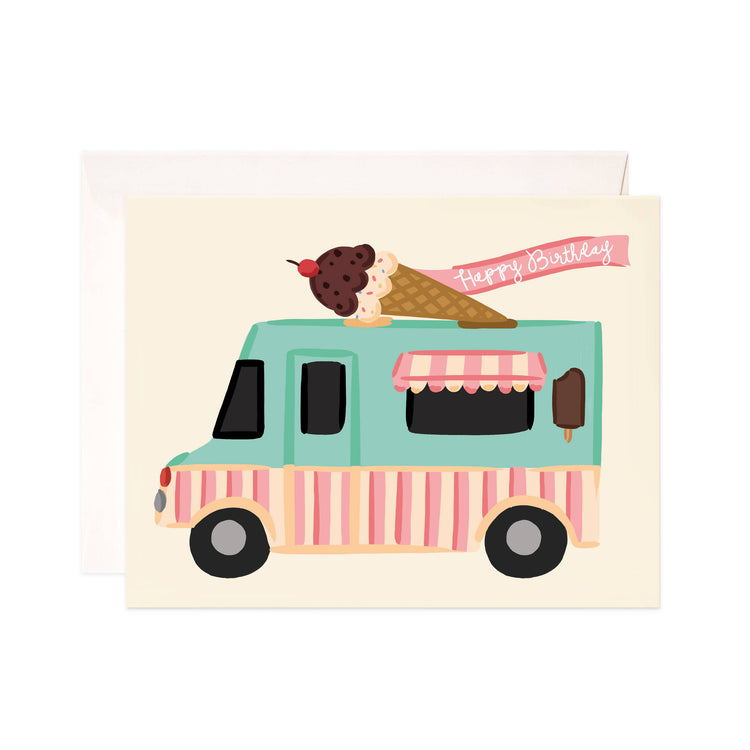 Ice Cream Birthday - Bloomwolf Studio Birthday Card, Green and Pink Truck, Chocolate Vanilla Ice Cream in a Cone