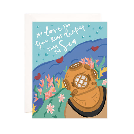 Deep Sea Love - Bloomwolf Studio Love Card, Green, Blue, Pink, Yellow and Red Under the Sea, Brown Scuba Suit, Nautical