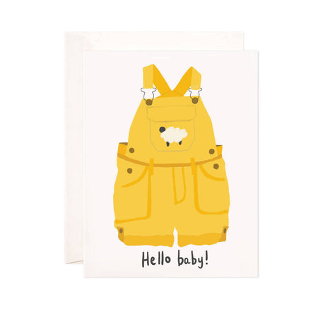 Hello Baby Overalls - Bloomwolf Studio Print That Says Hello Baby, Bright Yellow Jumper, Sweater