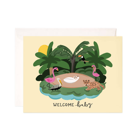 Baby Jungle - Bloomwolf Studio Card That Says Welcome Baby, Jungle Animals, Green Island, Yellow Sun