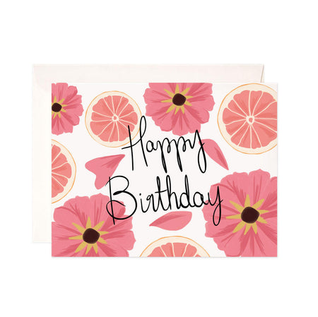 Birthday Grapefruit - Bloomwolf Studio Birthday Card, Pink Flowers and Grapefruits