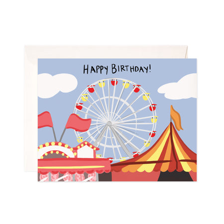 Carnival Birthday - Bloomwolf Studio Birthday Card, Neutral and Warm Colors, Red, Yellow, Orange Carnival