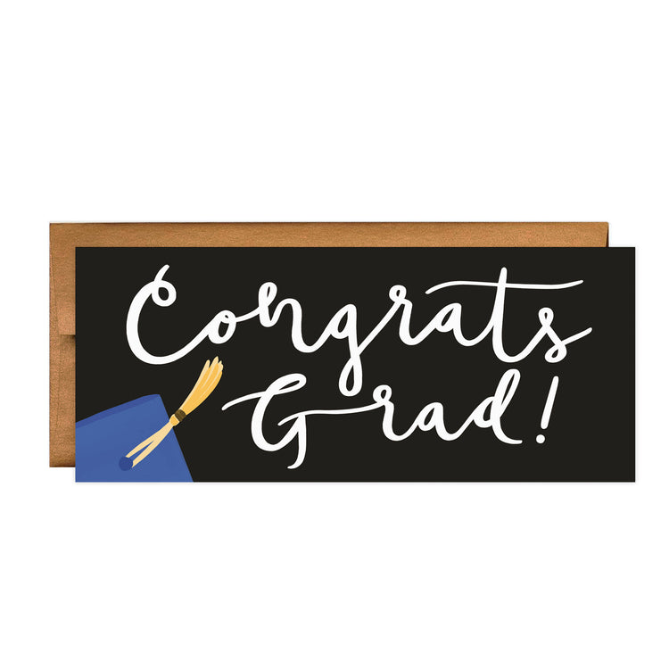 Blue Grad - Bloomwolf Studio Rectangle Card That Says Congrats Grad, Brown Envelope, Blue Grad Cap