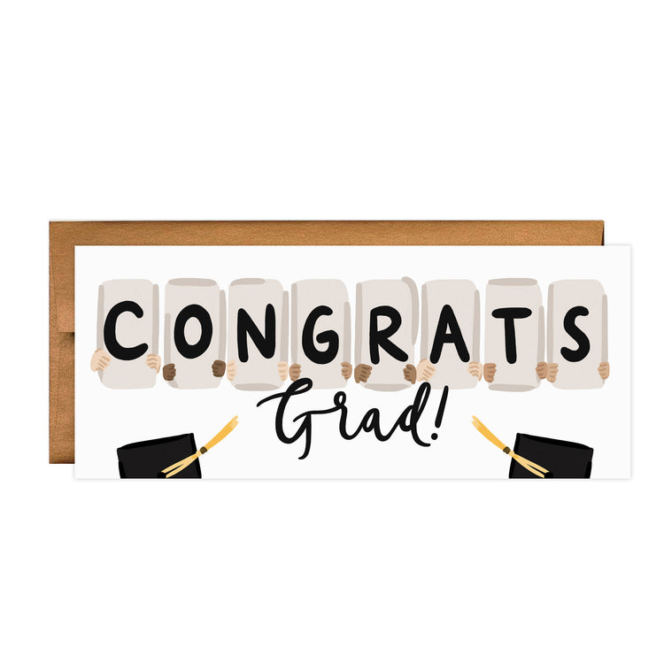 Congrats Signs - Bloomwolf Studio Print That Says Congrats Grad, Neutral Colors, Black Graduation Cap, mortarboard