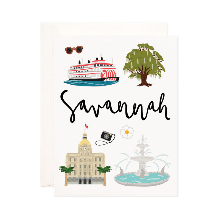 Savannah - Bloomwolf Studio Card About Savannah, City State Landmarks + Historical Places + Notable Places, Things to Do, Green, Blue, White Colors