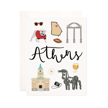 Athens - Bloomwolf Studio Card About Things to Do in Athens, Bright Colors, State Landmarks + Historical Places + Notable Places
